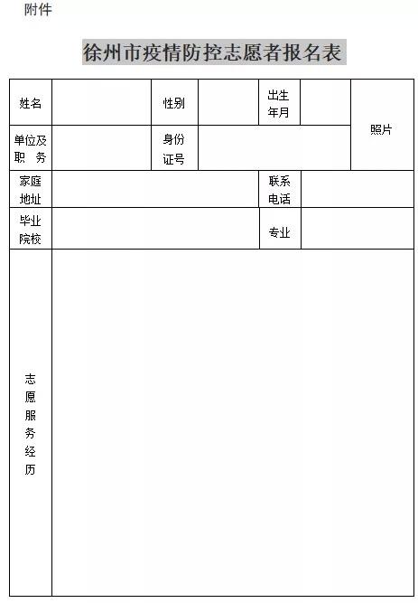 关于徐州市志愿者联合会招募疫情防控志愿者的公告