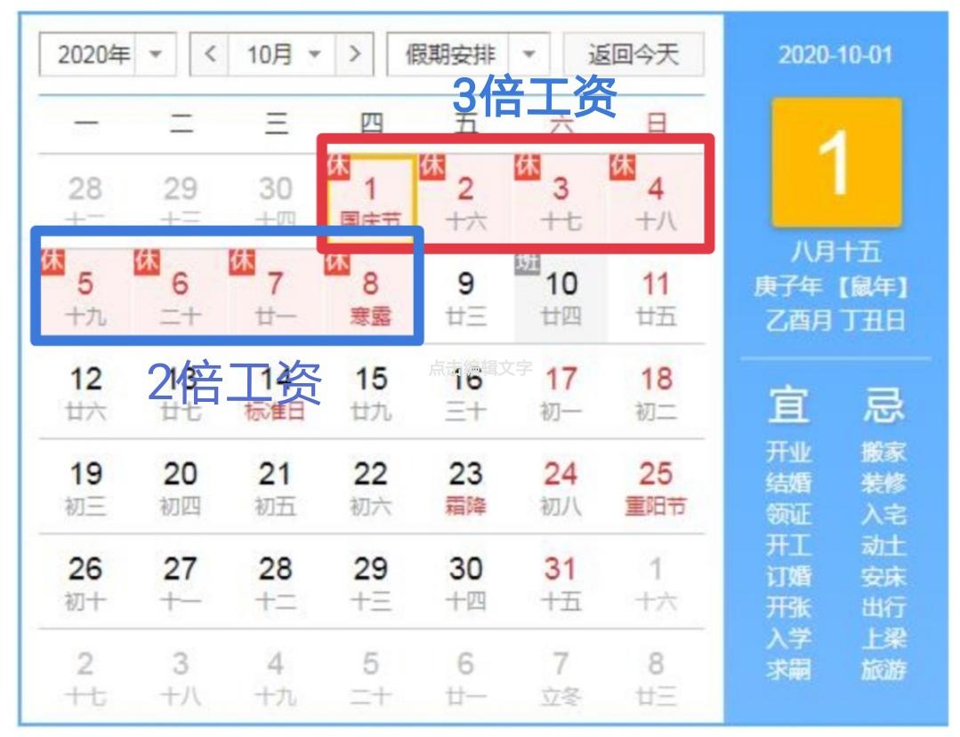 2020年国庆节、中秋节假期加班工资该如何计算?